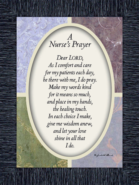 Nurses Prayer, Gift Appreciation for Special Nurses, Nurse Graduation, Framed Poem, 7x9 77997