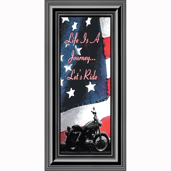 Life's a Journey with American Flag, Classical Motorcycle Photo Frame, 6x12, 7851