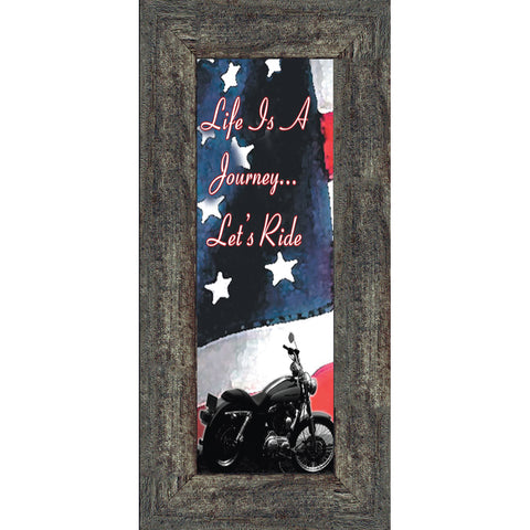Life's a Journey with American Flag, Gifts for Motorcycle Riders, Harley Davidson Photo Frame, 6x12, 7851