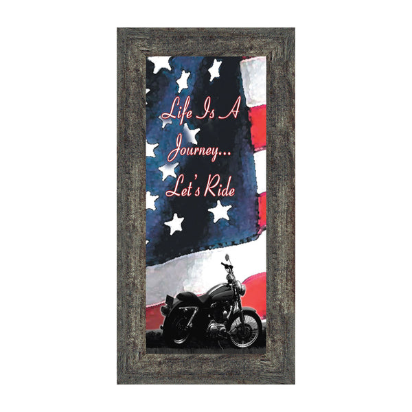 "Harley Davidson Gifts for Men and Women, Patriotic Harley Accessories, Harley Davidson Wedding Gifts, American Flag for Harley Riders, ""It's Not the Destination"" Unique Motorcycle Wall Decor, 7851"