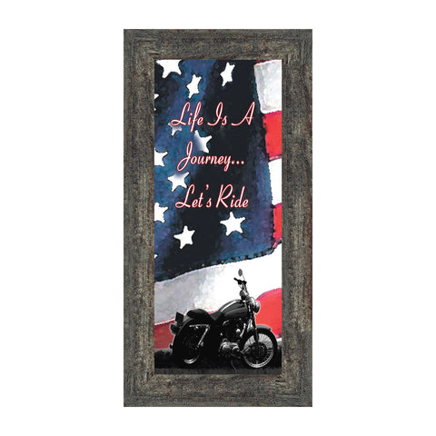 Life's a Journey with American Flag, Gifts for Motorcycle Riders, Harley Davidson Photo Frame, 6x12, 7851BC