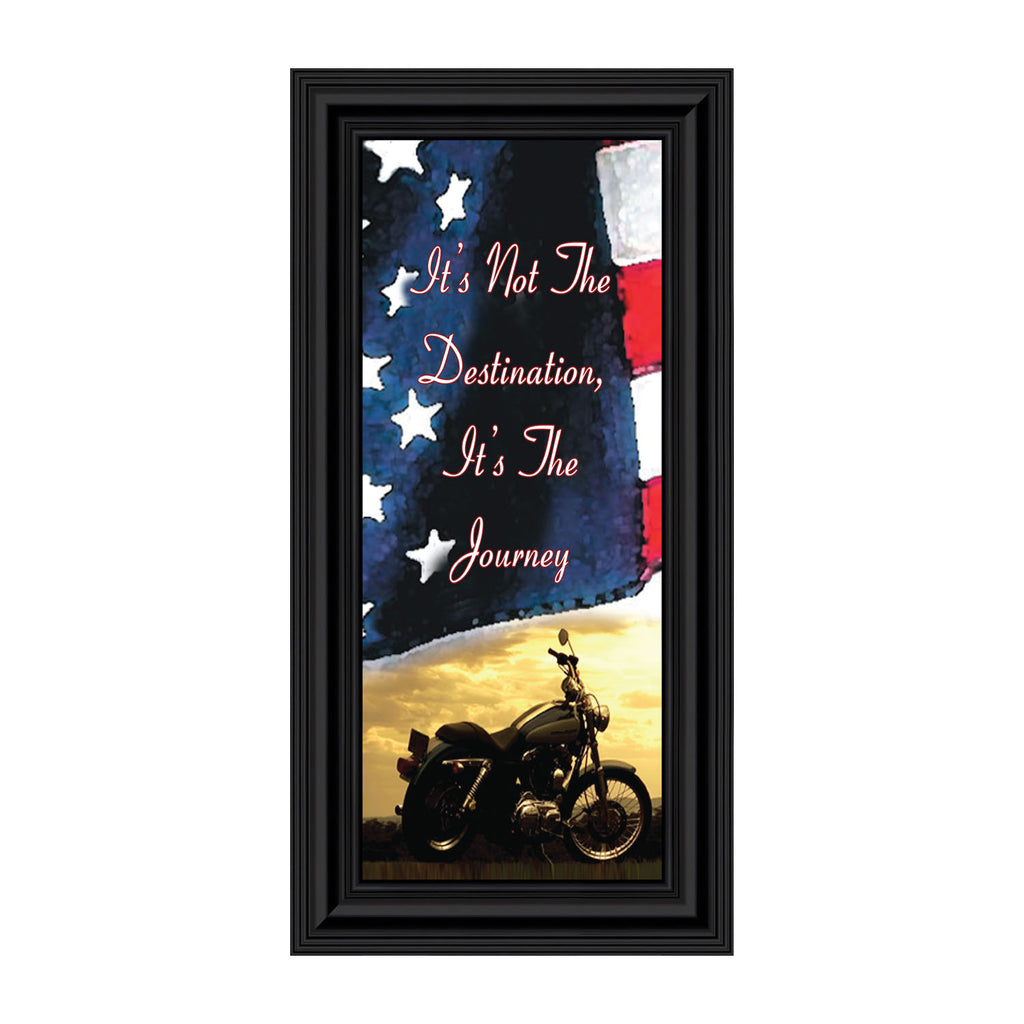 "Harley Davidson Gifts for Men and Women, Patriotic Harley Accessories, Harley Davidson Wedding Gifts, Sunset American Flag for Harley Riders, ""It's Not the Destination"" Unique Motorcycle Decor, 7852"