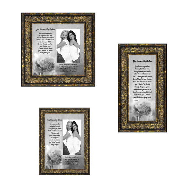 Picture Frame Set, 3 Piece Customizable Gallery Multi pack, 1-5x7, 1-8x8, 1-4x10, for Tabletop or Wall Display
