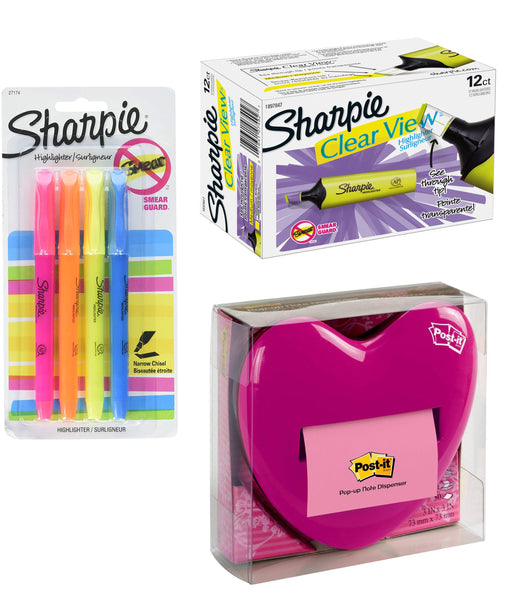 Office Bundle Post-It Pop Up Heart Note Dispenser, Sharpie Clear View Yellow Highlighter 12 Pack & 4 Pack Sharpie Highlighter Pens Asst. Colors