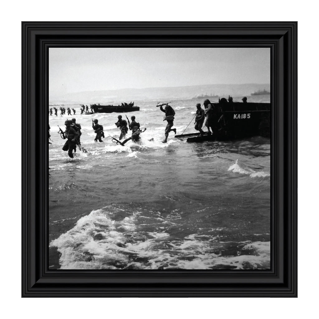 D-Day Landing, World War 2 Image, Military Framed Picture, 10x10 8524