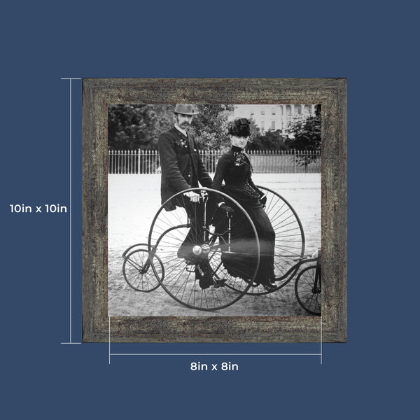 Vintage Bicycle, Antique Art, Historical Picture Frame, 10x10 8528
