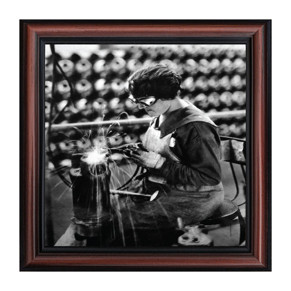Woman Welder, Vintage Images, Historical Picture Frame, 10x10 8533