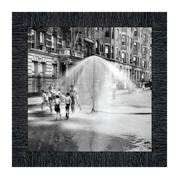 Water Play in Harlem, NY; Vintage Image; Historical Picture Frame, 10x10 8535