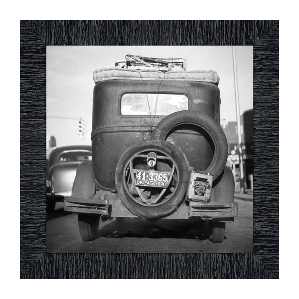Okies' Car, Great Depression Images, Historical Picture Frame, 10x10 8536