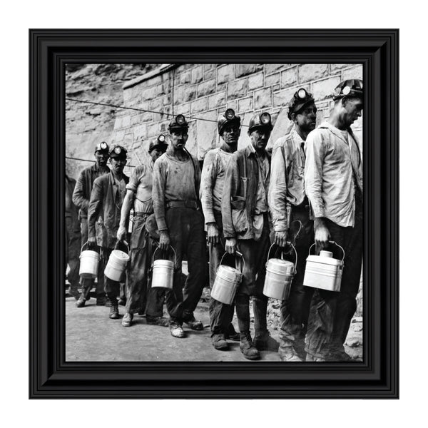 Miners at Lamphouse, Coal Miner Decor, Historical Picture Frame, 10x10 8539
