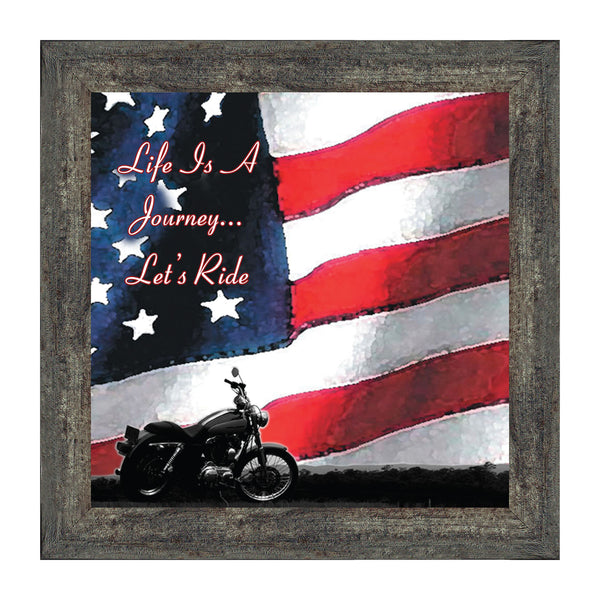 "Harley Davidson Gifts for Men and Women, Patriotic Harley Accessories, Harley Davidson Wedding Gifts, American Flag for Harley Riders, ""It's Not the Destination"" Unique Motorcycle Wall Decor, 8551"