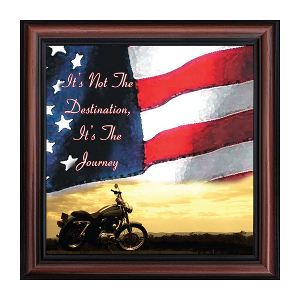 "Harley Davidson Gifts for Men and Women, Patriotic Harley Accessories, Harley Davidson Wedding Gifts, Sunset American Flag for Harley Riders, ""It's Not the Destination"" Unique Motorcycle Decor, 8552"