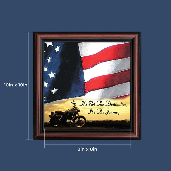 "Harley Davidson Gifts for Men and Women, Patriotic Harley Accessories, Harley Davidson Wedding Gifts, Sunset American Flag for Harley Riders, ""It's Not the Destination"" Unique Motorcycle Decor, 8554"