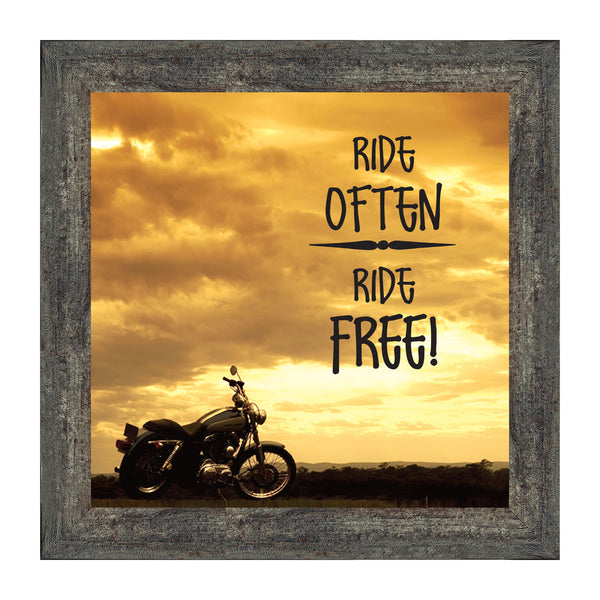 "Classic Motorcycle Bikers ""Ride Often, Ride Free"" Sunset with Picture Frame,  10x10 8563"