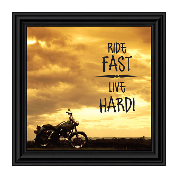 "Classic Motorcycle Bikers ""Ride Fast, Live Hard"" Sunset with Picture Frame, 10x10 8566"