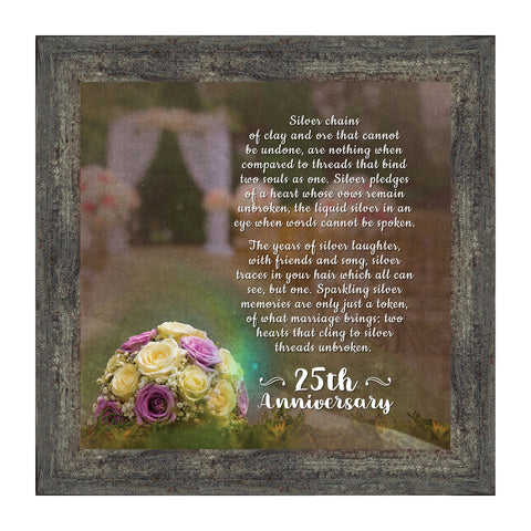 Silver Threads Unbroken, 25th Anniversary Picture Frame, 10x10 8600