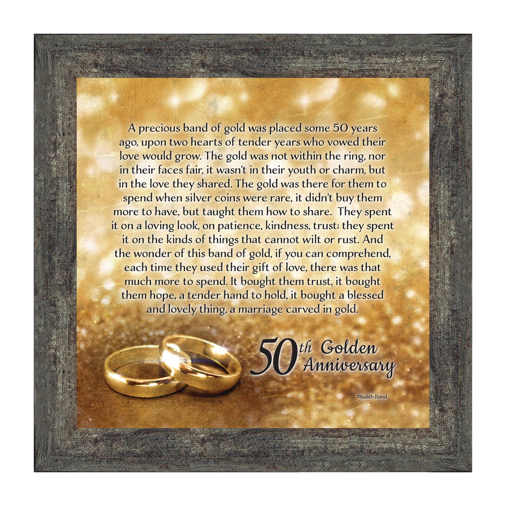 Bands Of Gold 50th Wedding Anniversary Gift Picture Frame 10x10