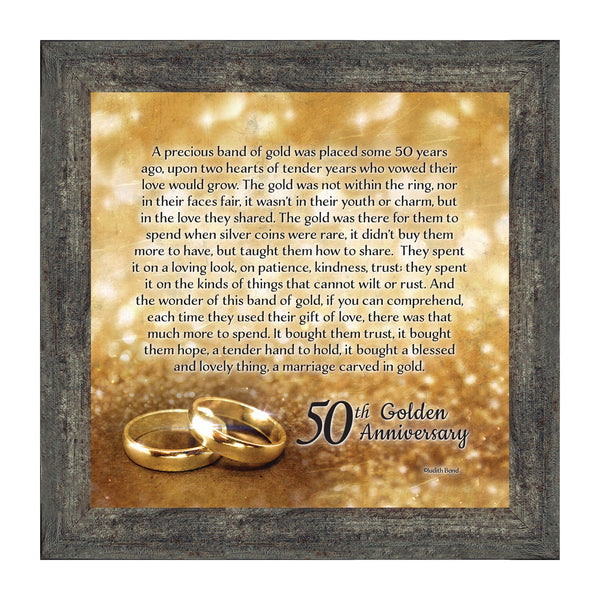 50th Wedding Anniversary Gifts for Parents or Couples, 50th Anniversary Decorations for Party, Golden Anniversary 50 Year Gifts, Gift to add to a 50th Anniversary Card, 8608