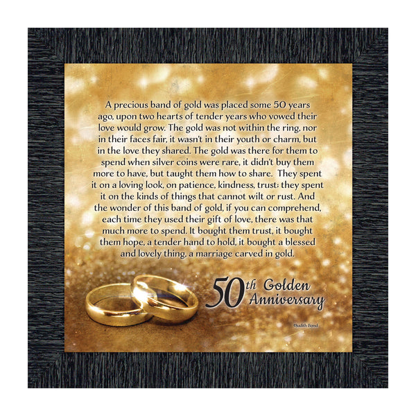 Bands of Gold, 50th Wedding Anniversary Gift Picture Frame, 10x10 8608
