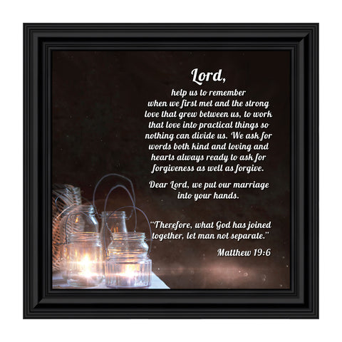"Christian Wedding Gifts for Couple, Engagement Gift for Bride and Groom, Christian Bridal Shower Gift for Bride, Rustic Wedding Decor, ""A Marriage Prayer"" Picture Framed Poem, 8613"
