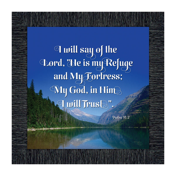 In Him I Trust, Gifts with Scripture from Psalm 91, Christian Picture Frame, 10x10 8620