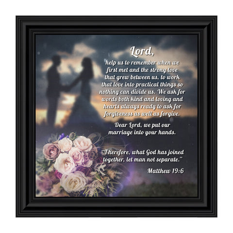 "Christian Wedding Gifts for Couple, Engagement Gift for Bride and Groom, Christian Bridal Shower Gift for Bride, Rustic Wedding Decor, ""A Marriage Prayer"" Picture Framed Poem, 8624"