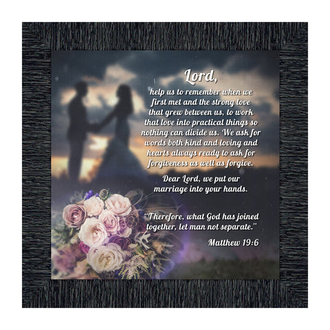 Picture Framed Prayer for Your Marriage, Christian Wedding Gift for Bride and Groom, 10x10 8624