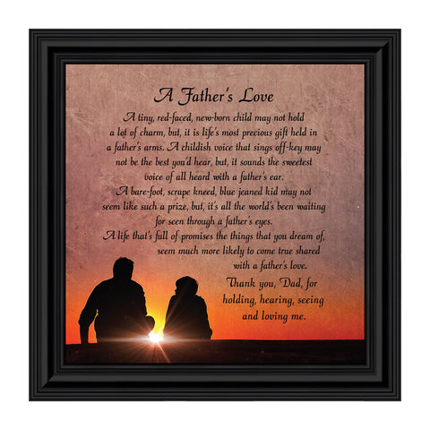 A Father's Love, Dad Gifts, Daddy Framed Poem From Son or Daughter, 8x8, 8634