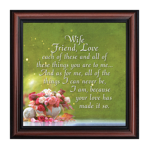 Wife Friend Love, Romantic Gift for Wife, Picture Frame, 10x10 8635