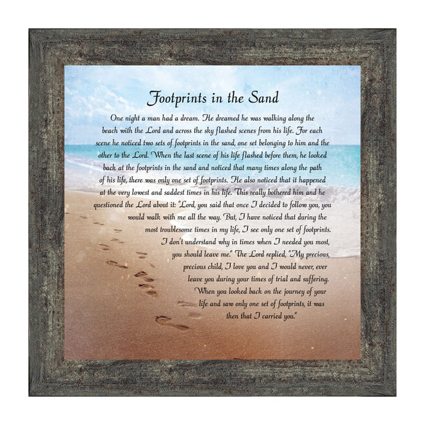 Footprints in the Sand Wall Art, Religious Wall Decor Gifts, Christian Decorations for Home, Inspirational Signs, 10x10, 8639