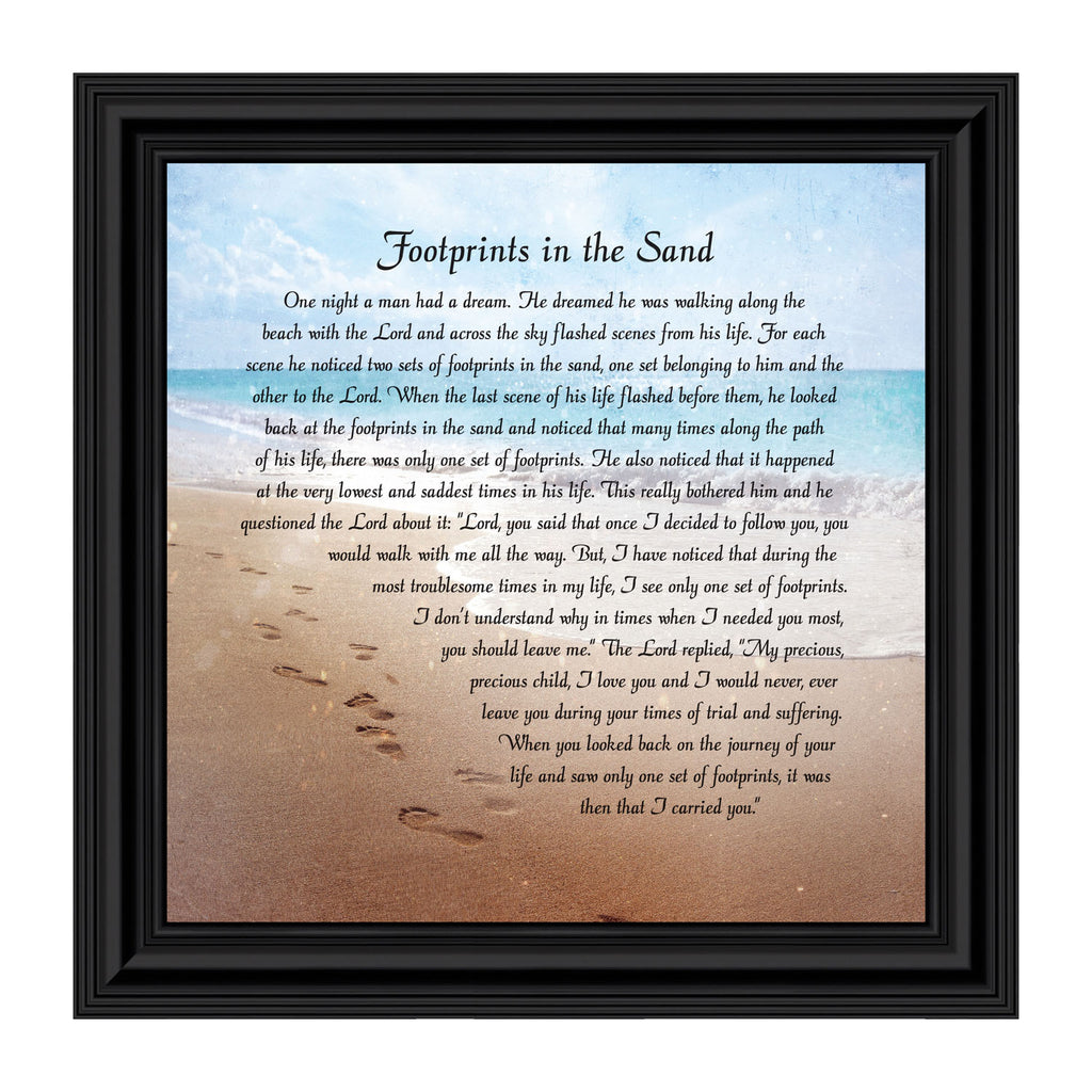 Footprints in the Sand Inspirational Wall Art, Beach Decor, Christian Gifts for Women and Men, Christian Wall Decor, Get Well Soon, Encouraging Scripture Wall Art, Framed Sympathy Gift, 8639