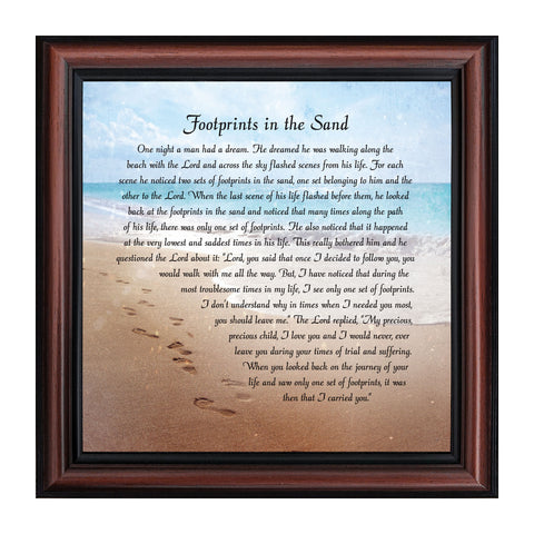 Footprints in the Sand, Religious Gift for loved one, Picture Frame 10x10 8639