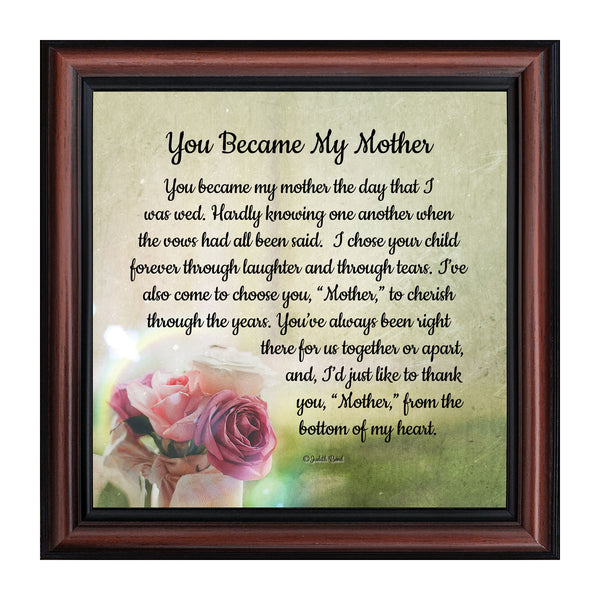 You Became My Mother, Gift for Mother In Law, Wedding Gifts for Parent, 10x10 8641