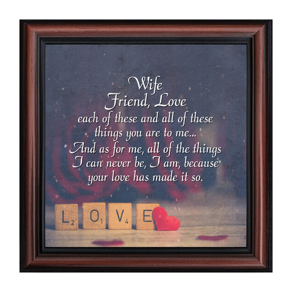Wife Friend Love, Romantic Gift for Wife, Picture Frame,  10X10 8642