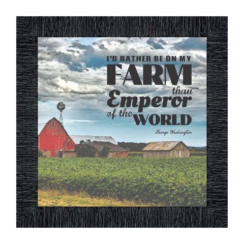 I'd Rather Be On My Farm, Country Gift, Farmer and Barn Picture Frame, 10x10 8647
