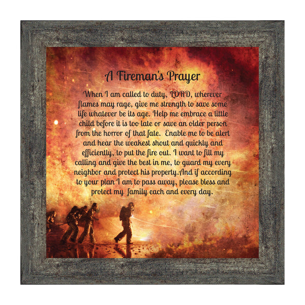 A Fireman's Prayer, In Appreciation of A Firefighter, Framed Picture Frame, 10x10 8650