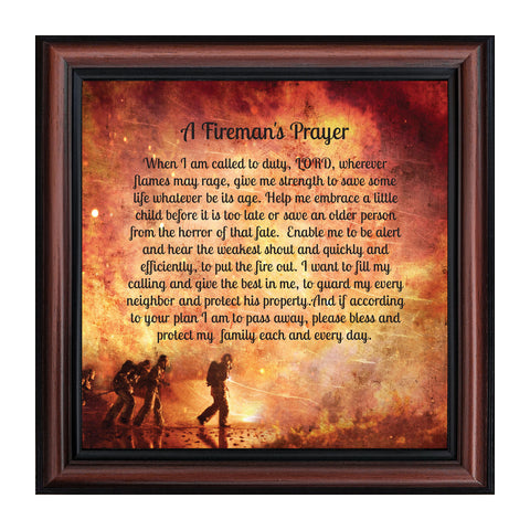 A Fireman's Prayer, Fireman Gifts and Decor, In Appreciation of Firefighter, 10x10 8650