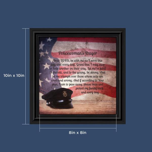 Policewoman's Prayer, Police Officer Gifts for Women, Police Woman Framed Poem, 10x10 8655