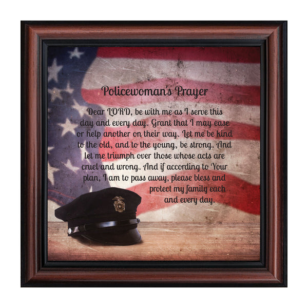 Elegantly Yours Policewomans Prayer, Gifts for Women Police Women, 10x10 8655