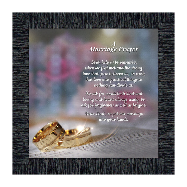 Marriage Payer, Signs with Scripture, Christian Marriage Gift Picture Frame, 10X10 8657