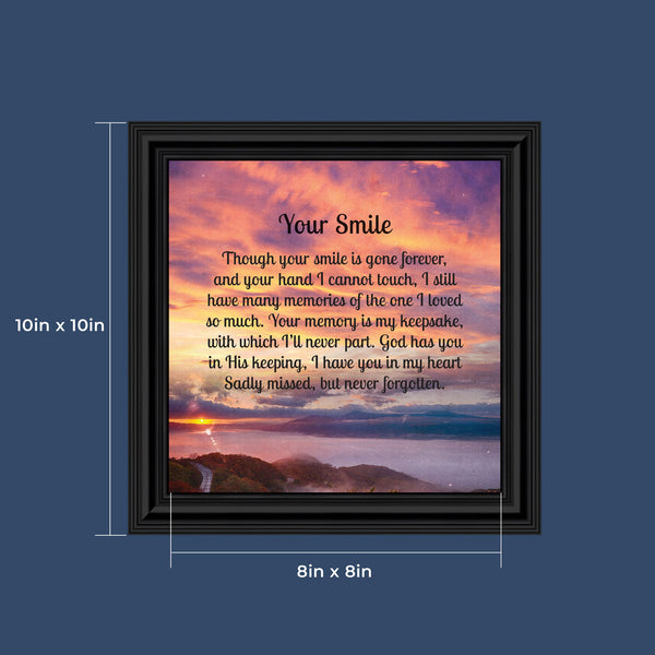 "Sympathy Gift Picture Frames In Memory of Loved One, Memorial Gifts to Add to Your Sympathy Gift Baskets or Condolence Card, Loss of Father Gift, Bereavement Gifts, ""Your Smile"" Framed Poem, 8658"