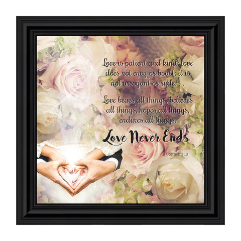 Love Wall Decor for Couples, Christian Wall Decor for Wedding Gifts, Love Never Fails Wall Decor, 1 Corinthians 13 Wall Art, Love is Patient Love is Kind Wall Art, Love Quotes Framed Wall Art, 10x10 8660