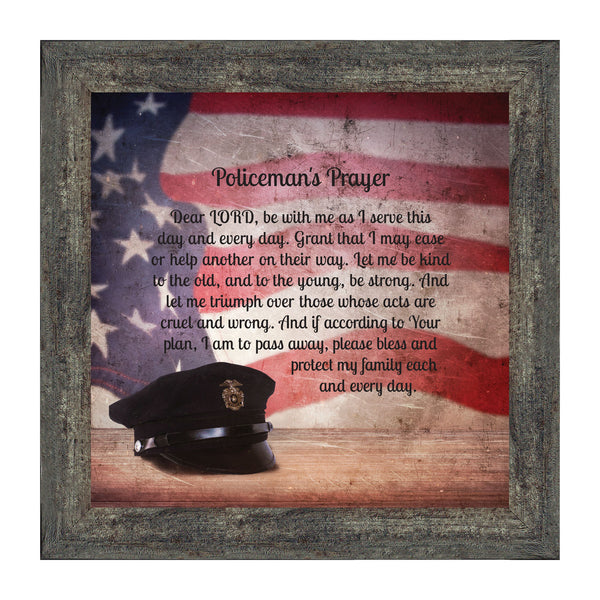 Policeman's Prayer, Picture Framed Poem Thanking the Police for their Service, 10x10 8662