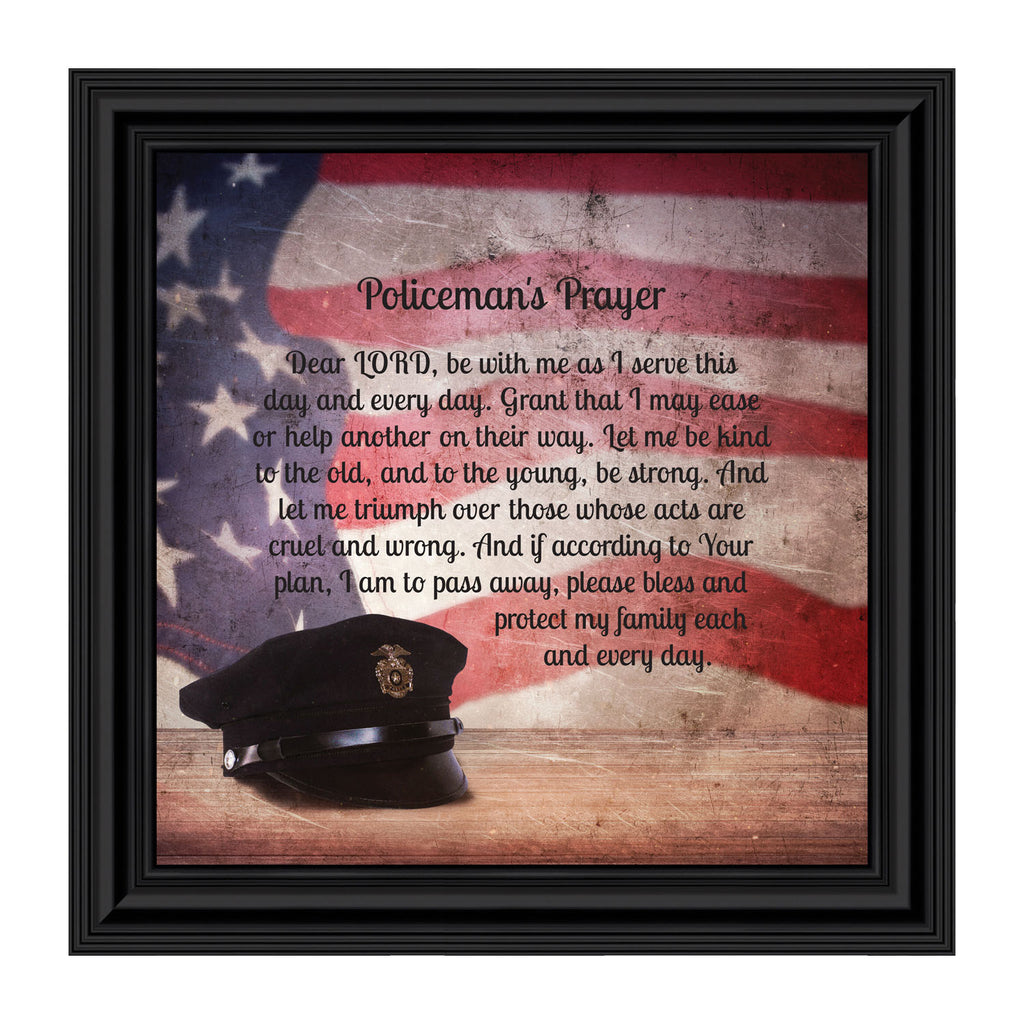 Police Officer Gifts, Law Enforcement Gifts, Police Gifts for Men, Gifts for Cops, First Responders, Sheriff, Deputy or State Police, Picture Framed Wall Art for the Home or Police Station, 8662
