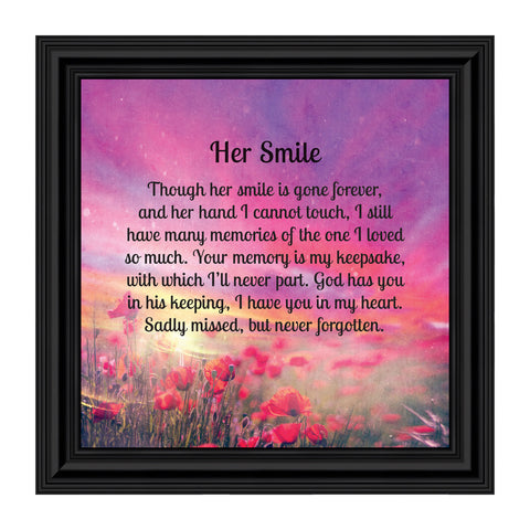 Sympathy Gifts for Loss of Mother, Condolence Gift, In Loving Memory Memorial Gifts for loss of Wife, Mom, Grandma or Sister, Bereavement Gifts to Remember Her Smile, Memorial Picture Frame, 8667