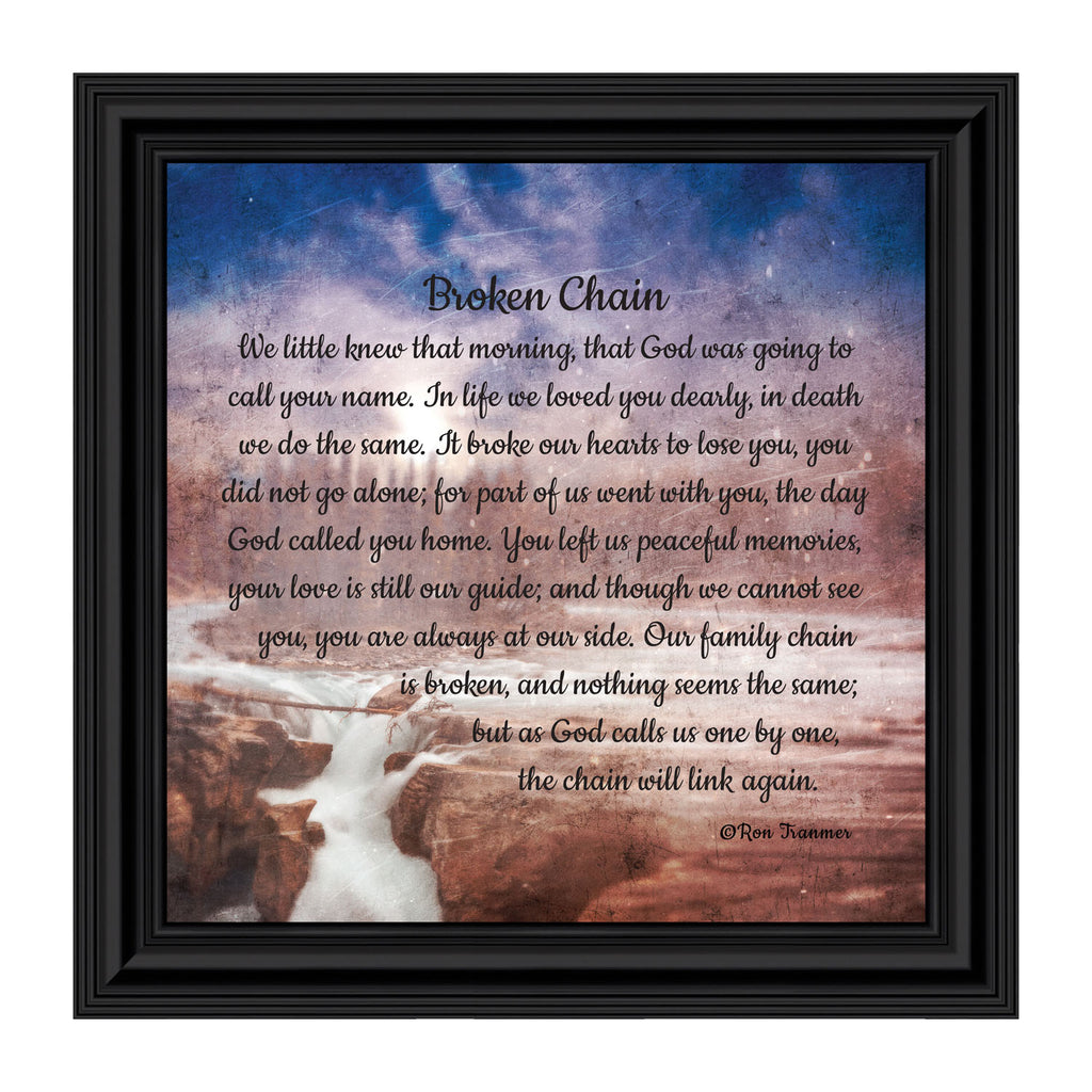 Sympathy Gift In Memory of Loved One, Memorial Picture Frames For Loss Of Loved One, Memorial Grieving Gifts, Condolence Card, Bereavement Gifts for Loss of Mother or Father, Broken Chain Frame, 8670