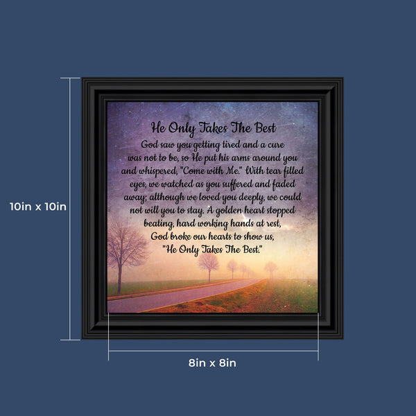 Memorial Picture Frame, Sympathy Gifts for Loss of Mother, Loss of Father Gift, Bereavement Gifts for Sympathy Gift Baskets or Condolence Card, Photo Frame In Memory of Loved One, 8677