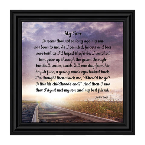 My Son, Father Son Gift, Inspirational Picture Frame, 10x10 8687