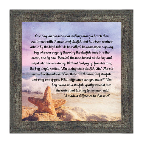 The Starfish Story, Appreciation Gift, Legend of the Star Fish, Ocean Décor, 10x10 8688