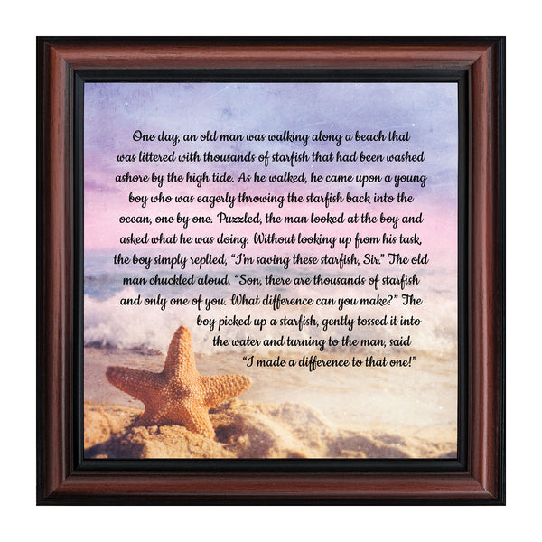 The Starfish Story, Legend of the Starfish, Thank You or Appreciation Gift for Your Pastor or Teacher, You Can Make a Difference Poem, 10x10 8688
